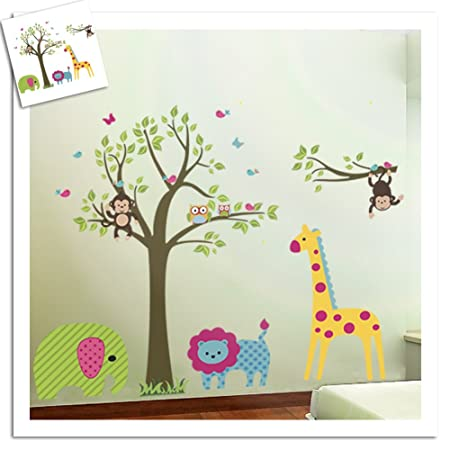 Colorful tree jungle animals wall sticker nursery bedroom wall art decor cute giraffe monkey owl