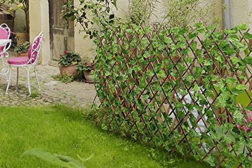 go2buy Expandable Faux Artificial Ivy Leaf Privacy Fence Screen Double Side Green for garden decor,3.9' x 7.9'' (Wicker Fence)