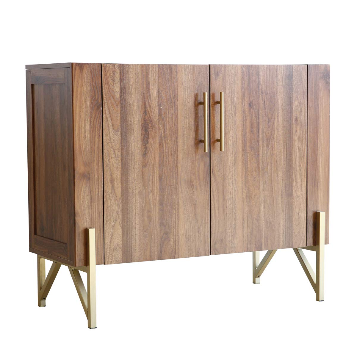 Roomfitters Mid Century Side Board, Dining Room Server, Credenza, Side Board, Buffet, Elegant Walnut Finish with Gold Legs by Roomfitters (Image #3)