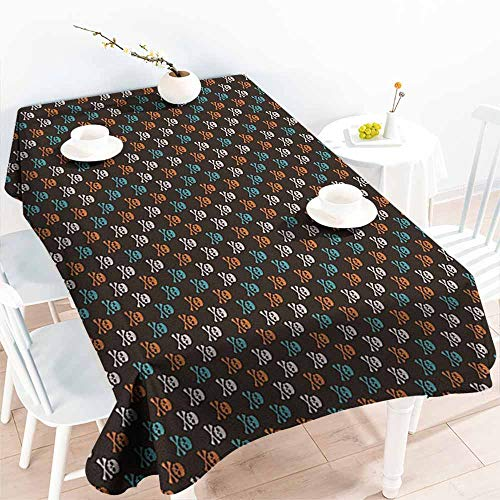 Willsd Tablecloth,Pirates Different Colored Graphic Skull Figures with Bones on Black Background Halloween,Resistant/Spill-Proof/Waterproof Table Cover,W60X90L Multicolor -