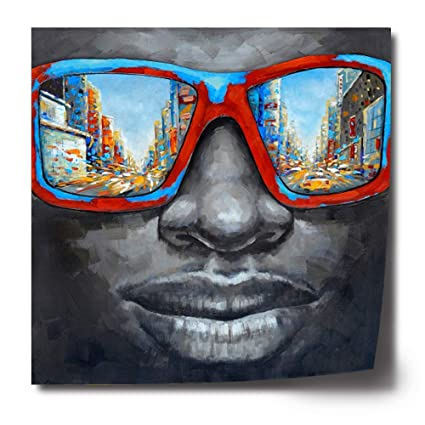 Original Design Modern Pop Star Poster Black Men Portrait Oil Painting On  Canvas Print Cool Wall