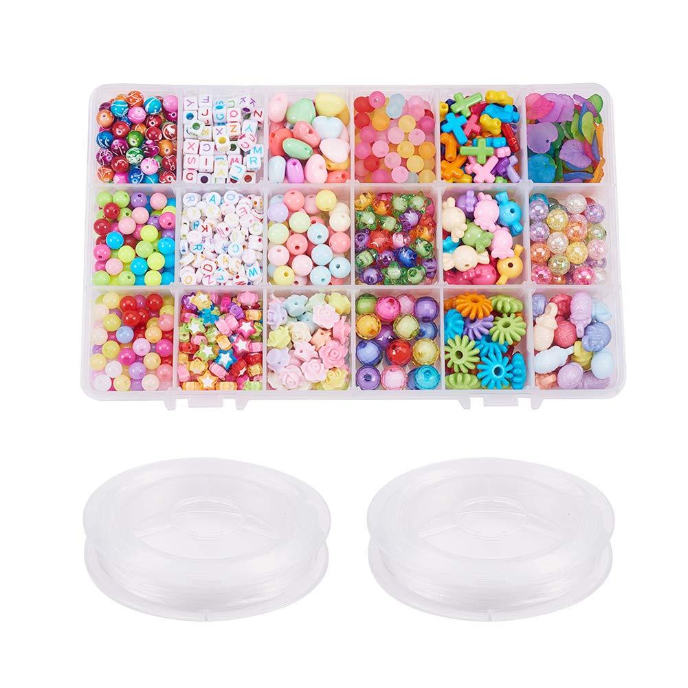 PH PandaHall 480 PCS 24 Color Chunky Acrylic Cross Beads for DIY Jewelry and Bracelets