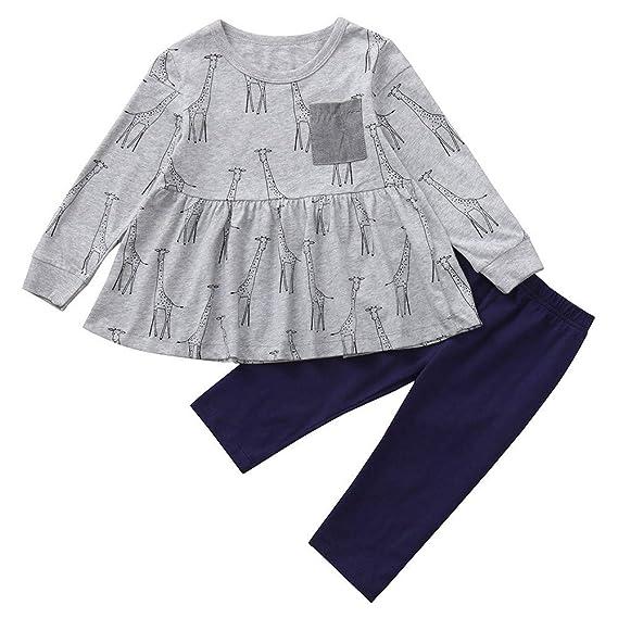 Conjuntos para Niñas Otoño Invierno 2018 Moda PAOLIAN Vestido Manga Largas + Pantalones Navidad Fiestas Ropa para Niñas Muchacha Estampado Pijamas Enteros ...