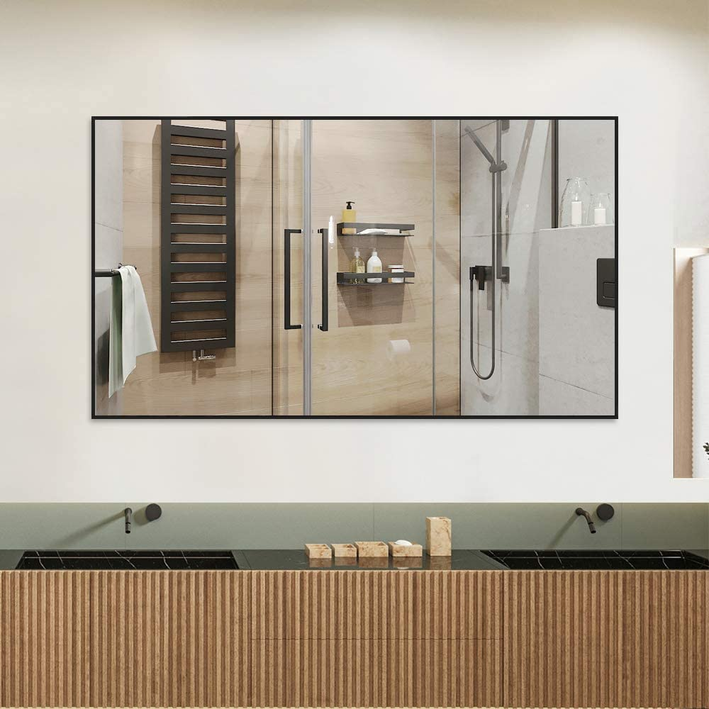 52x32 Large Rectangle Bedroom Mirror Floor Mirror Dressing Mirror Wall-Mounted Mirror NeuType Full Length Mirror Hanging or Leaning Against Wall Aluminum Alloy Thin Frame Black