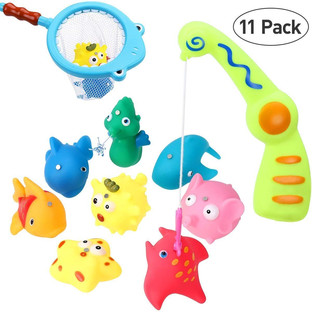 iBaseToy Bath Fishing Toy - Catch Cute Fish in the Tub with Magnetic Fishing Rod - Includes 8 Squirts Fish, Fishing Rod, Net and Storage Bag .
