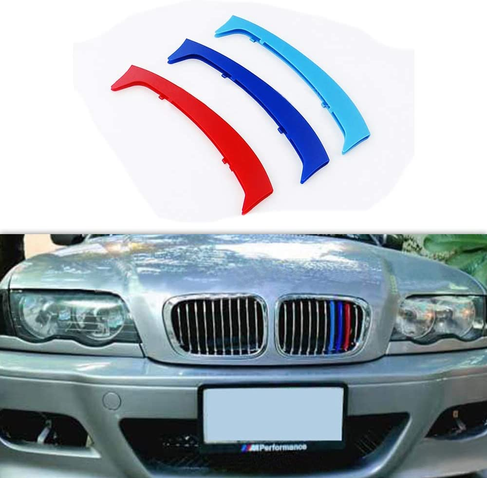3D M Front Grille Trim Strips grill Cover Stickers for 2002-2005 BMW E46 316i 318i 320i 325i 328i 330i 323i 4 Door ONLY
