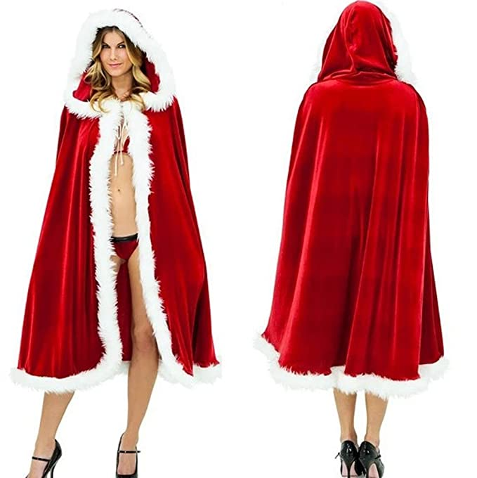 9cf72d2b81 vimans Adult Red Hooded Cape Role Play Robe Shawl Mrs Santa Cloak with Hood