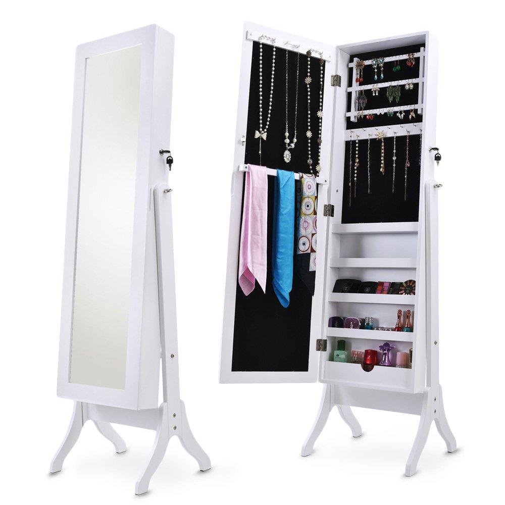 Merax Jewelry Cabinet Lockable Jewelry Armoire Organizer Mirrored Jewelry Armoire with Stand (white) WF036135KAA
