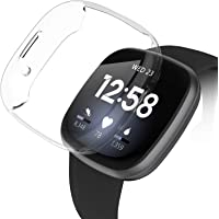 Adepoy for Fitbit Versa 3/Sense Watch Case with Screen Protector Full Soft TPU Case Bumper Plated Around Shockproof…