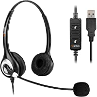 Corded USB Headsets Stereo with Noise Cancelling Mic and in-line Controls, Wantek UC Business Headset for Skype…