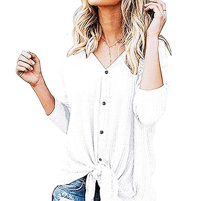 88a32f871e2 de las mujeres de manga larga con cuello en V camisas de algodón túnica de  la