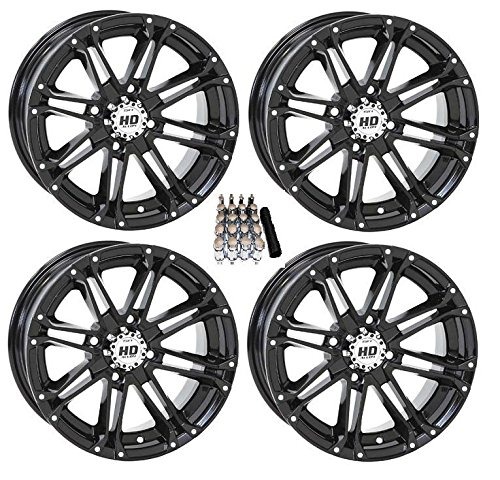 STI HD3 ATV Wheels/Rims Black 14'' Polaris 2013 Ranger 900 XP (4) by Powersports Bundle (Image #3)