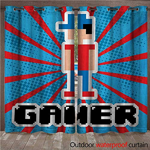 WilliamsDecor Video Games Outdoor Curtain for Patio Blue and Red Striped Boom Beams Retro 90s Toys Boy with Cap W84 x L96(214cm x 245cm) ()
