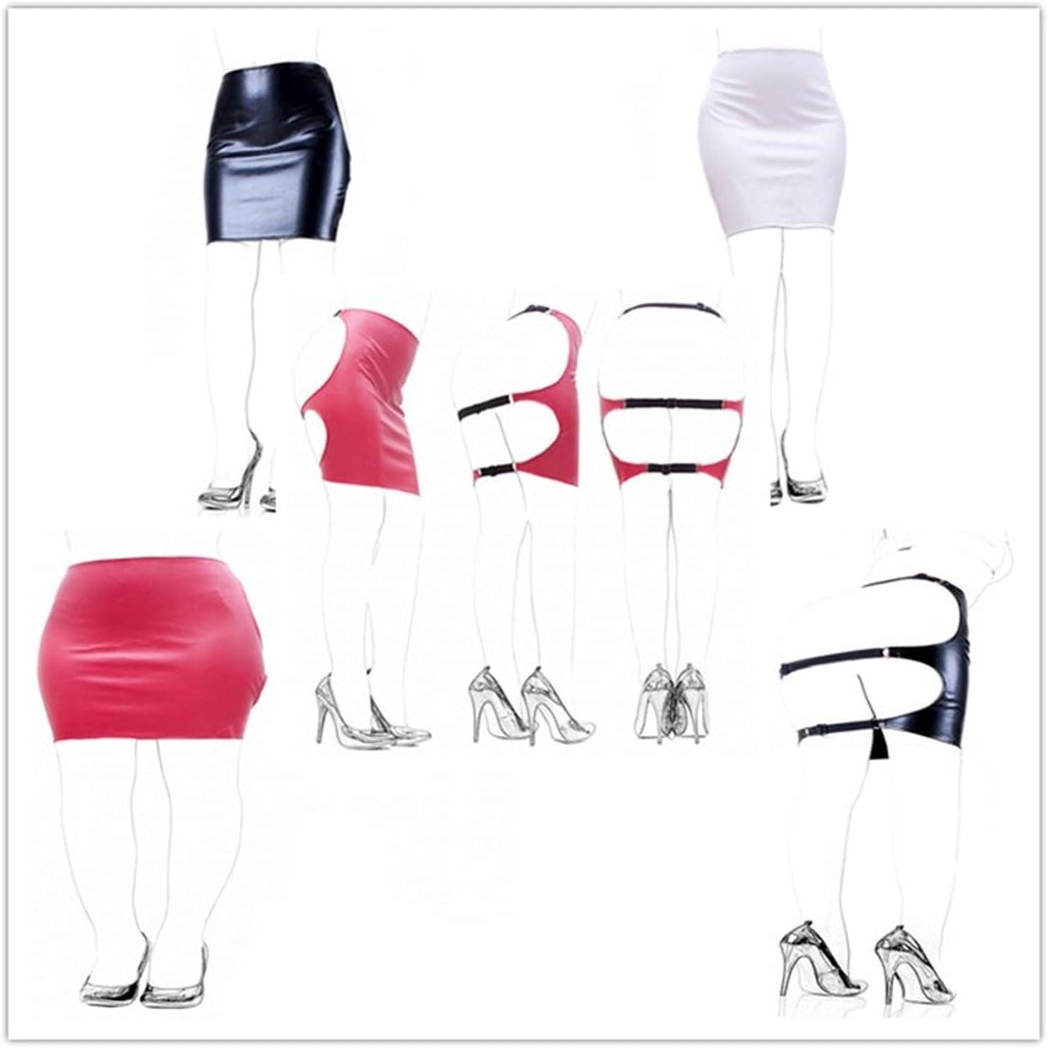 Rojo/Blanco/Negro Pleasurey Mujeres PU Cuero SLE Nalgadas Falda ...