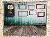 Clock Decor Fleece Throw Blanket A Vintage Clock and Empty Picture Frames in an Old Room Wooden Backdrop Throw Green and Brown