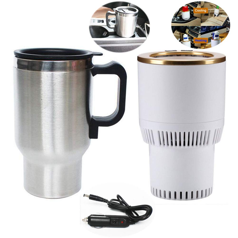 QDJIEN Car Hot and Cold Cup Freezing Heating Car Mug 12V Milk Warmer Cigarette Lighter Small Refrigerator Cycle Insulation Kettle (2 Pcs)