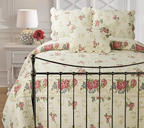 Cozy Line Home Fashions Elizabeth Rose Night Elegant Floral Flower Printed Pattern Quilt Bedding Set,100% Cotton, Reversible Coverlet Bedspread, Gifts for Women(Aromatic Night, Queen - 3 (Flowers Quilt Pattern)