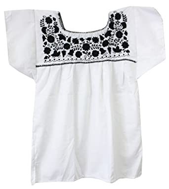 c8a25beb429eda Liliana Cruz Embroidered White Peasant Blouse with Solid Color Embroidery  (Small, Black)