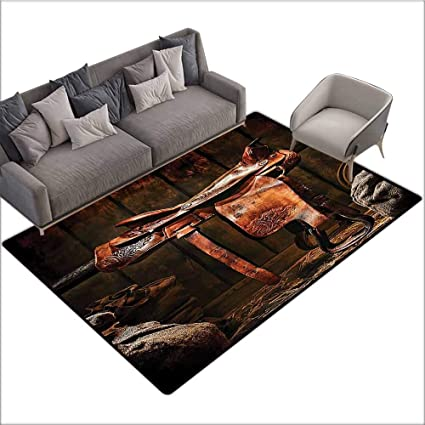 Cool Amazon Com Anti Skid Area Rug Western Decor Collection Squirreltailoven Fun Painted Chair Ideas Images Squirreltailovenorg