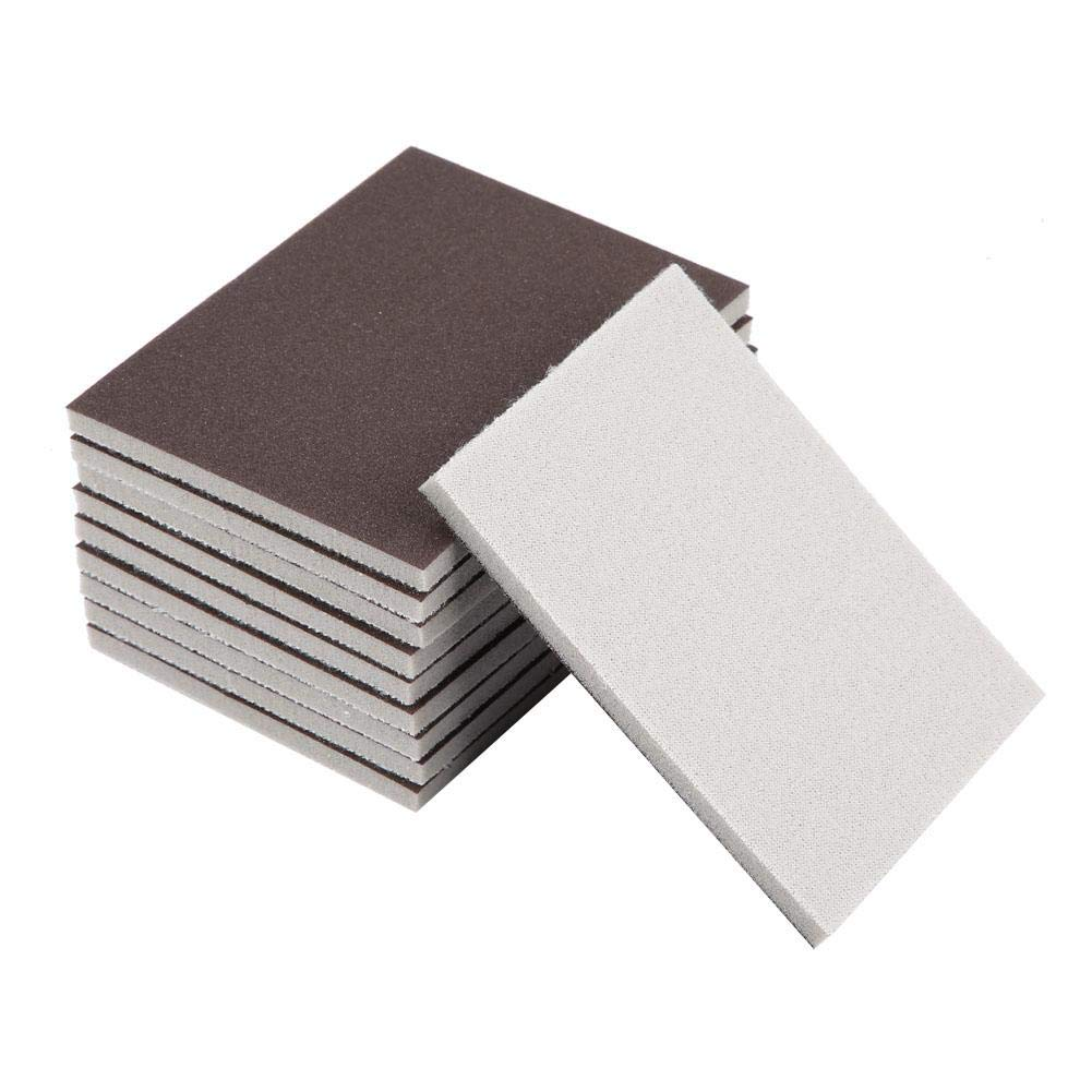 240# 10 pezzi di spugna abrasivi quadrati spugna per levigatura automobilistica mobili in legno finitura grana 120//180//240