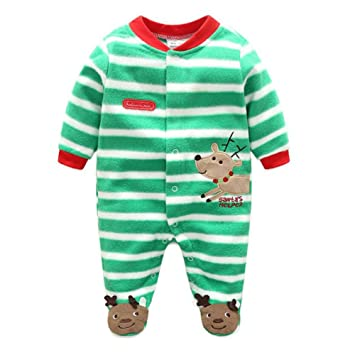 80402e225 Baby Girls Boys Cartoon Costumes Infant Outfit Baby Romper Sleepsuit Fleece  Green Reindeer/66cm: Amazon.co.uk: Baby