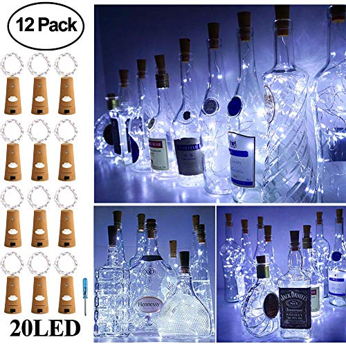 Adecorty Wine Bottle Lights with Cork - Silver Wire Cork Lights for Bottle 12 Pack 6.5ft 20 LED Bottle Lights Battery Powered Christmas String Lights for Party Halloween Wedding Christmas -