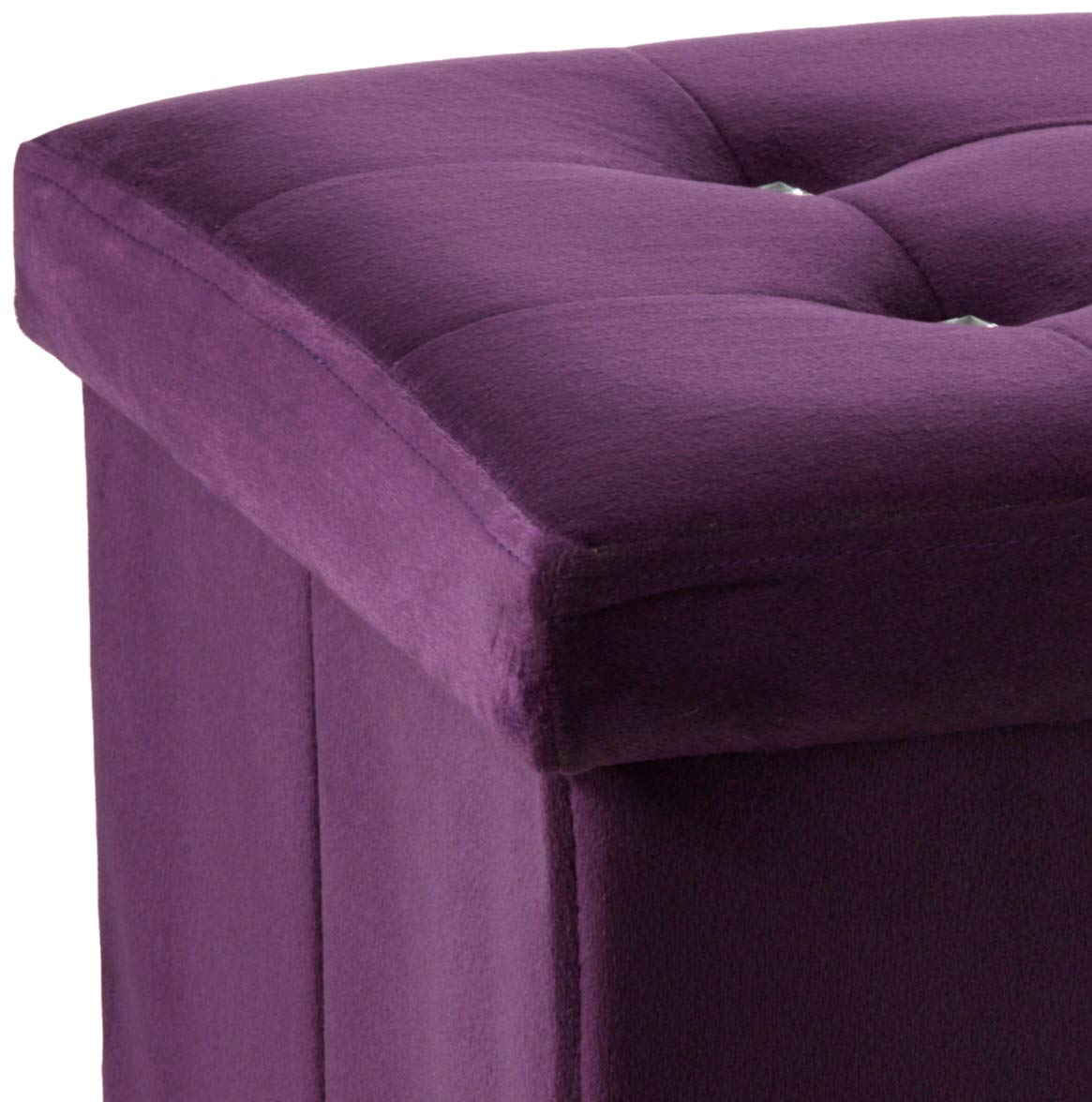 Home Basics Ottoman with Stones HDS Trading Corp FS01665 Purple
