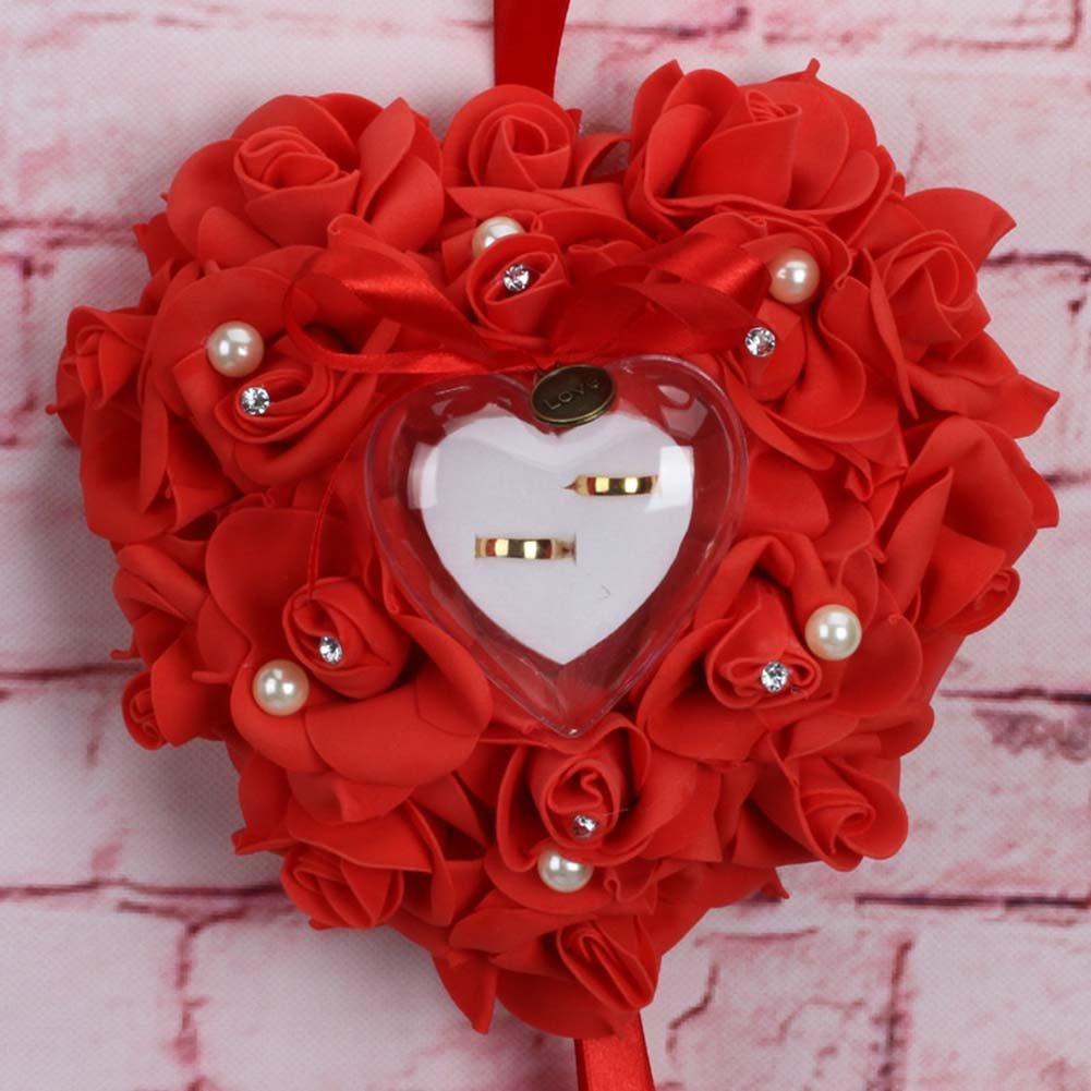 Poehxtyy romantique Rose Mariage Bague Coussin Oreiller de bague en forme de c/œur Bo/îte /à bijoux 25 x 25 x 14cm Color1