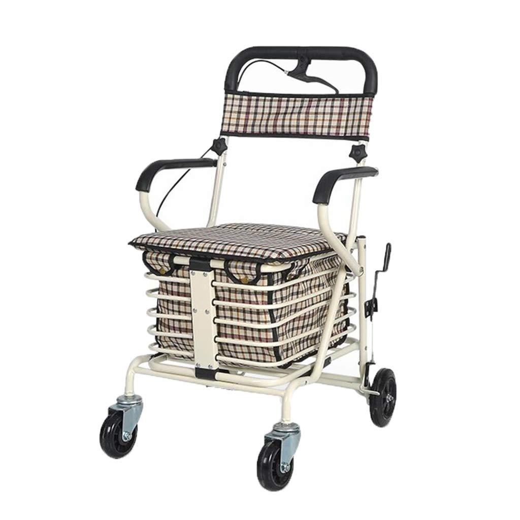 スチールチューブウォーカー折り畳み手押し買い物カートライト老人四輪乗車小型カート   B07FLZ1QQ3