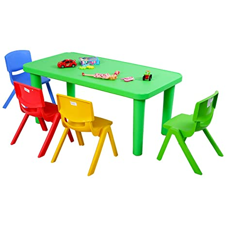 Fine Costzon Kids Table And Chair Set Plastic Learn And Play Activity Set Colorful Stackable Chairs Portable Table For School Home Play Room Table 4 Machost Co Dining Chair Design Ideas Machostcouk
