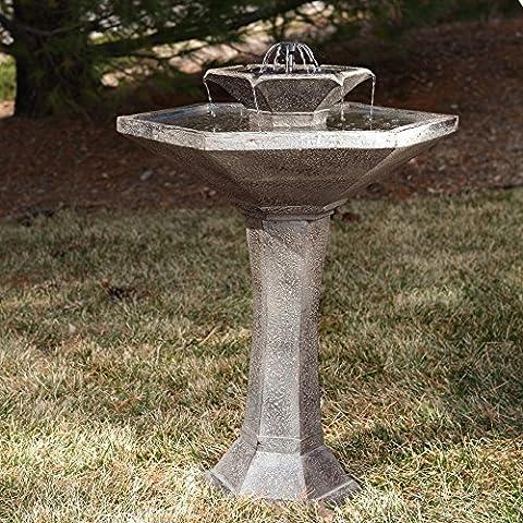 Outdoor Smart Solar Alfresco 2-Tier Solar Bird Bath Fountain Garden - Smart Solar Fountain