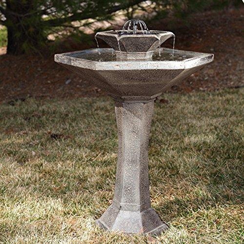 Outdoor Smart Solar Alfresco 2-Tier Solar Bird Bath Fountain Garden by Smart Solar