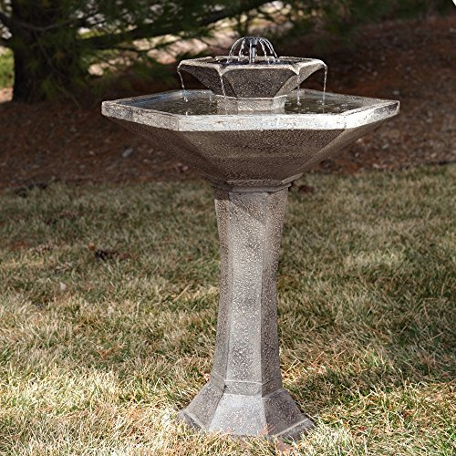 Outdoor Smart Solar Alfresco 2-Tier Solar Bird Bath Fount...