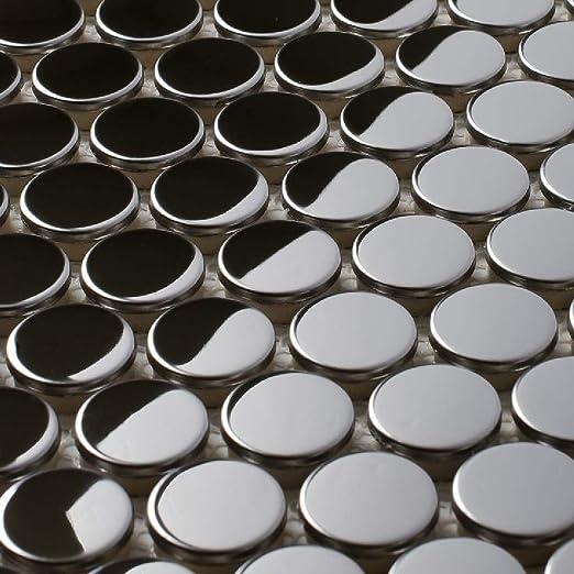 1 Sheet Penny Round Mirror Stainless Steel Metal Mosaic Tile for Kitchen Backsplash