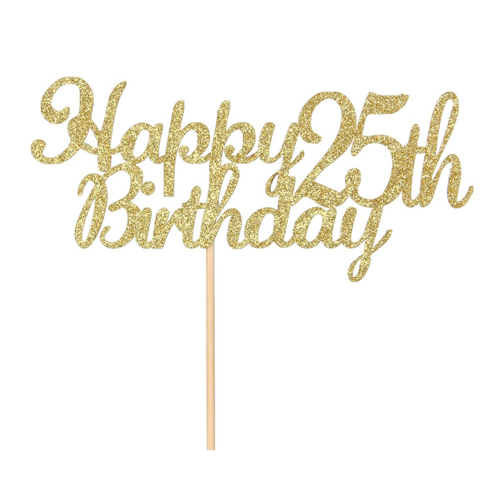 Happy 25th Birthday Cake Topper Gold Glitter Hello 25 Fabulous Anniversary Party Decoration