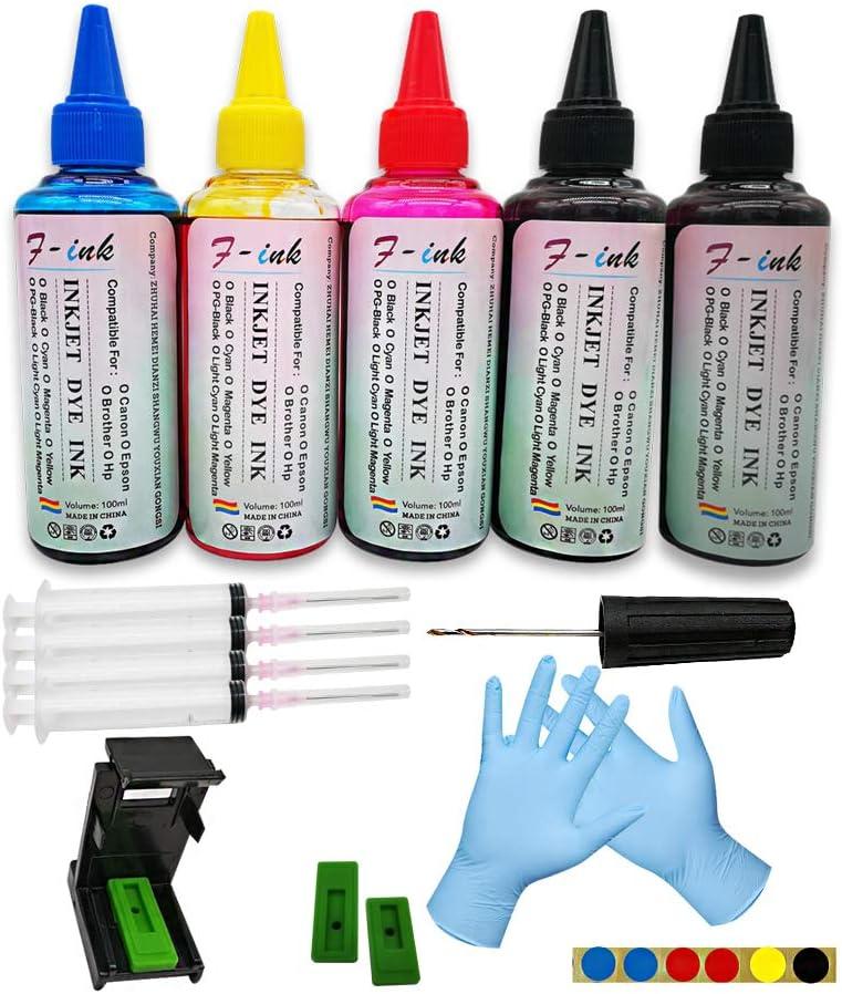 F-ink, 5 botellas de tinta y herramientas de recarga de tinta ...