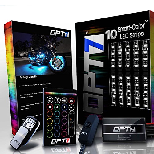 10pc Aura Motorcycle LED Light Kit | Multi-Color Accent Glow Neon Strips w/Switch for Cruisers ()