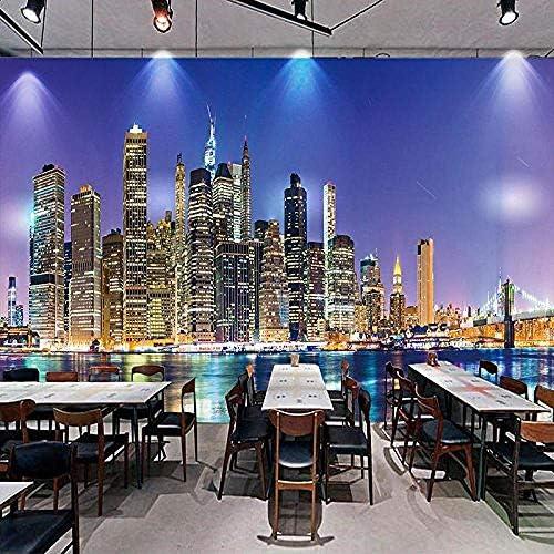 市夜景写真壁紙3Dリビングルームレストランテレビ背景装飾壁紙壁画-200x140cm