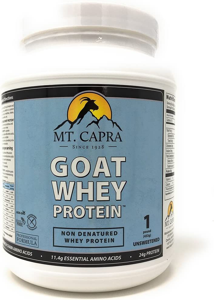 Mt. Capra Goat Whey Protein Grass-Fed Undenatured Whey Protein Powder from Pastured Goats, High in Branch Chain Amino Acids, Unsweetened – 1 Pound