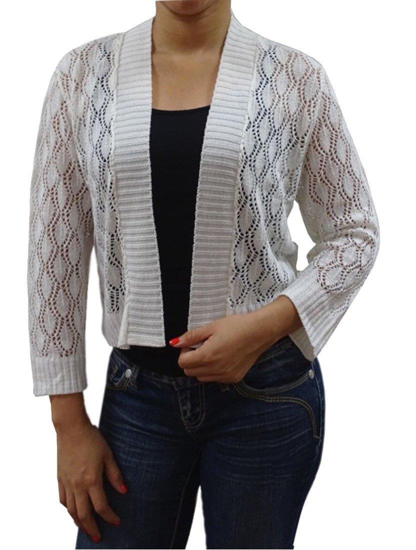 Serendipity 3/4 Sleeve Sleeve Crochet Shrug (Large, Cream)