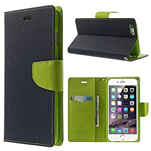 MaryJane Mercury Fancy Diary Leather Wallet Cover for iPhone 6 Plus with Stand, Dark Blue, Non-Retail Packaging