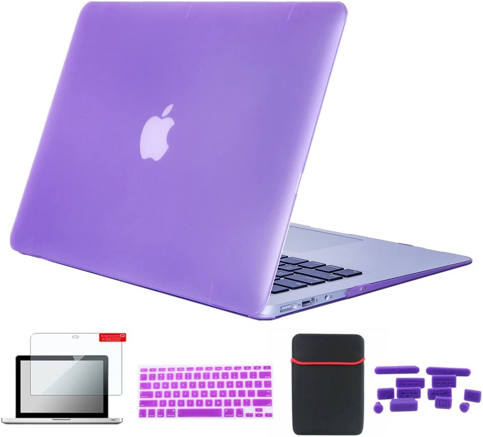 Se7enline 2013/2014/2015/2016 MacBook Pro 13 case Cover compatible with MacBook Pro Retina 13 in A1502/A1425 Accessories with Screen Protector, Soft Sleeve Bag, Keyboard Cover, Dust Plug, Light Purple