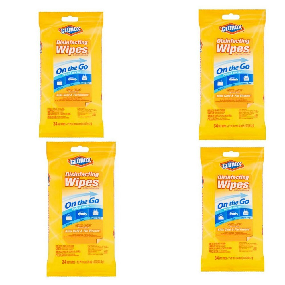 Clorox Disinfecting Wipes On The Go, Citrus Blend, 34 Count Pack (Citrus Blend- 4Pack)