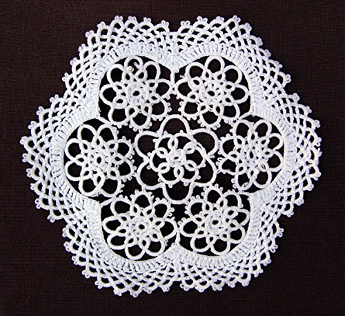4-piece Handmade Tatting Lace Floral Cotton Coaster Doilies, 6-inch Round, White ()