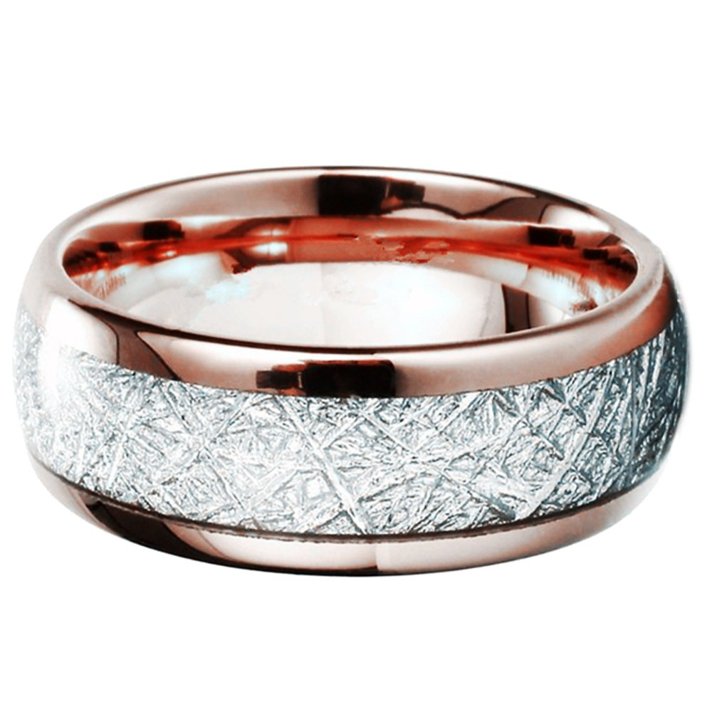 Myviyseny Tungsten Carbide Custom Mens 8mm Rose Gold Rings Silver Carbon Fiber Wedding Bandsamazon: Carbon Fiber Wedding Band Rose At Reisefeber.org