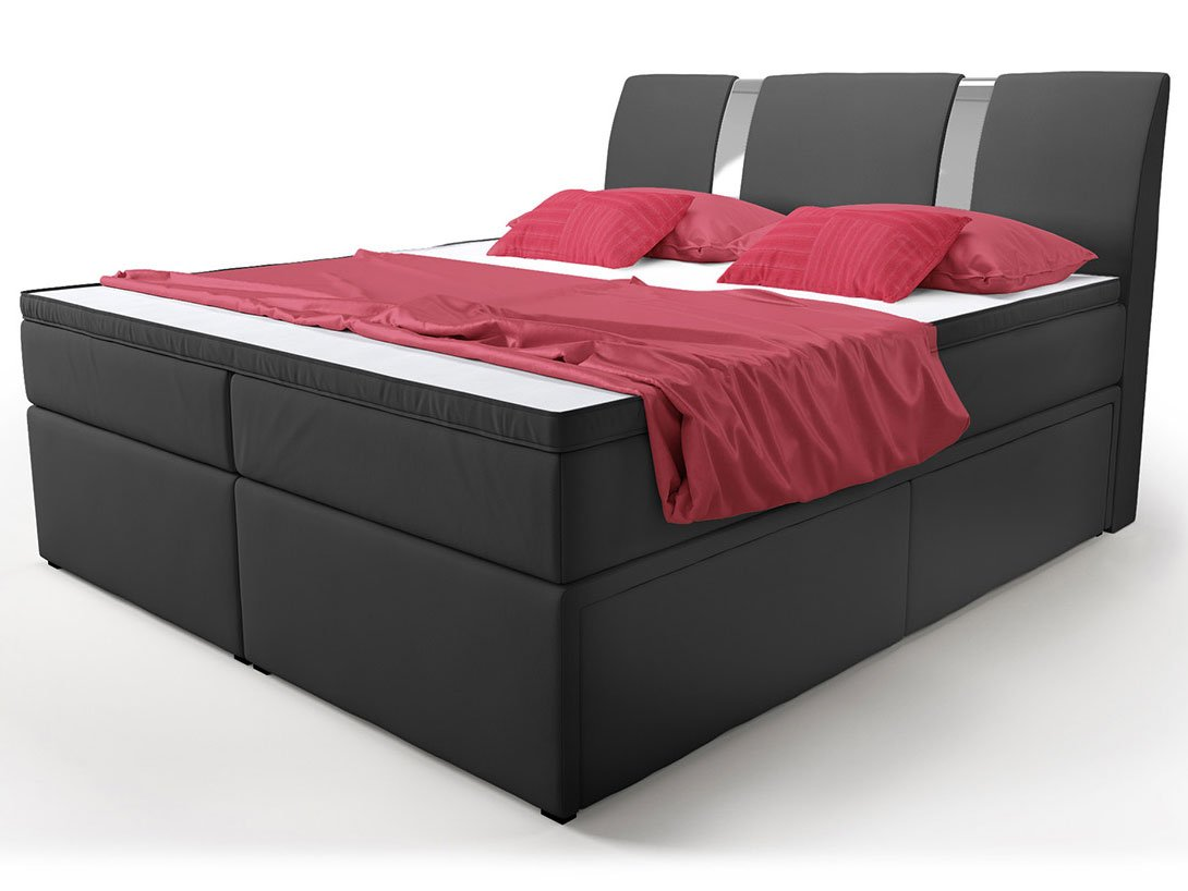 boxspringbett mit bettkasten schubkasten 160x200 schwarz. Black Bedroom Furniture Sets. Home Design Ideas