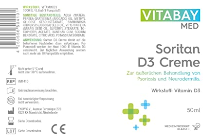 Soritan D3 Cream - 50 ml - For external treatment of psoriasis and ...
