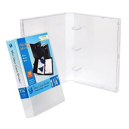 amazon com mini unikeep 3 ring binder clear full enclosed view