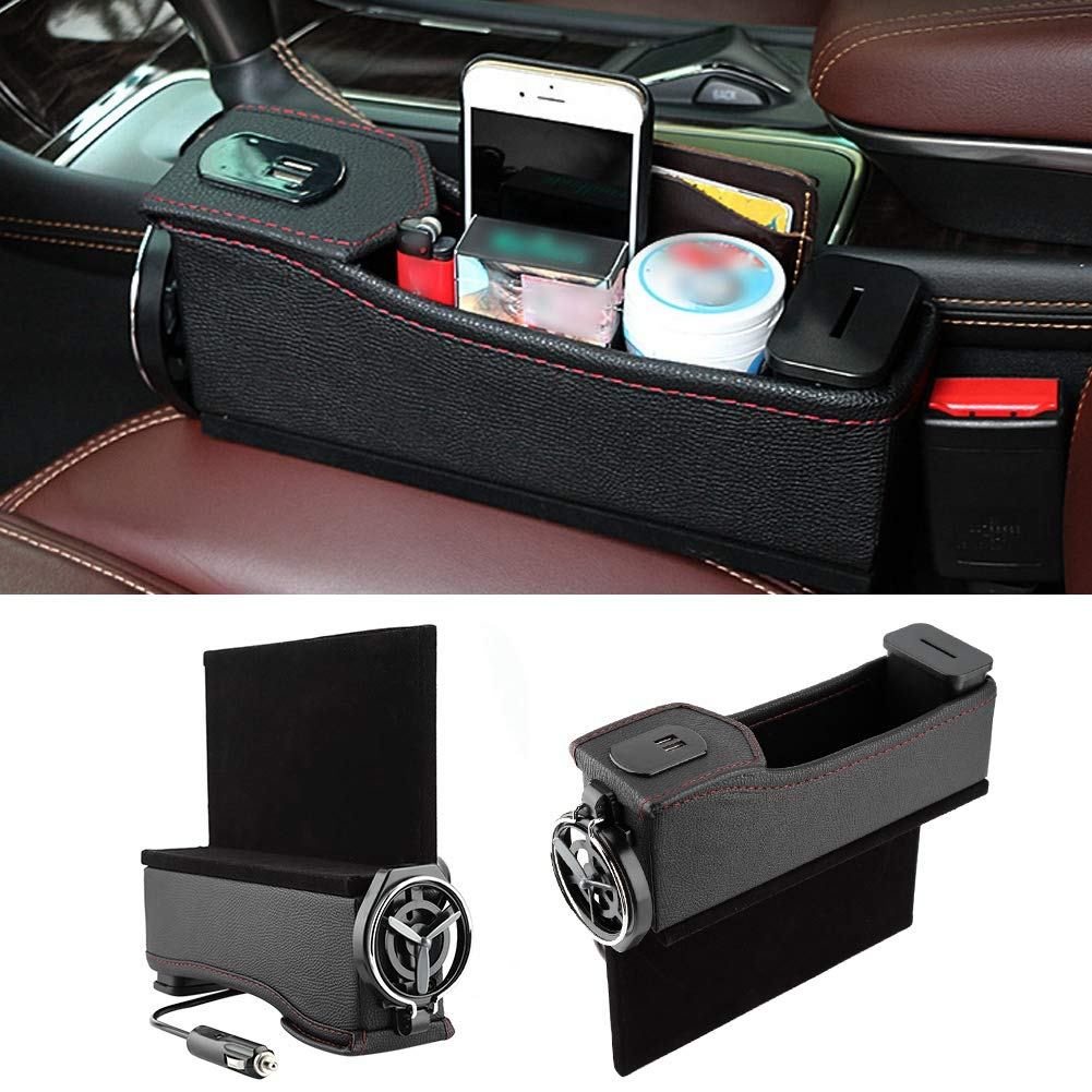 Seat Side Box Multi-Functional Auto Seat Console Side Storage Box Pocket Organizer Water Cup Holder with USB Charging for Universal Car