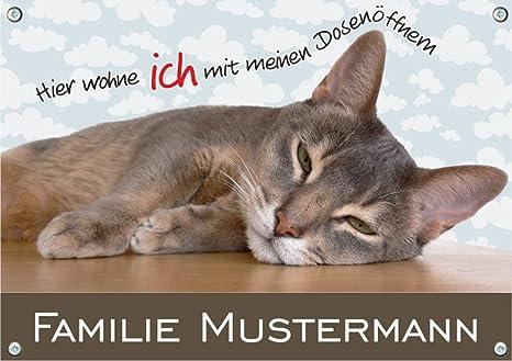 Gato Cartel de gato con su nombre para puerta de la Casa ...